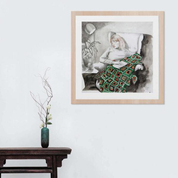 Ana Collado #AC8 enmarcada en madera de haya en ambiente